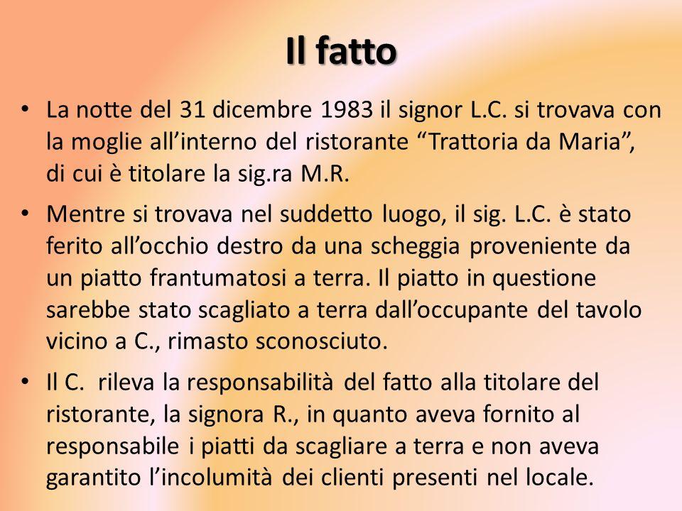 Il fatto La notte del 31 dicembre 1983 il signor L.C. si trovava con la moglie allinterno del ristorante Trattoria da Maria, di cui è titolare la sig.