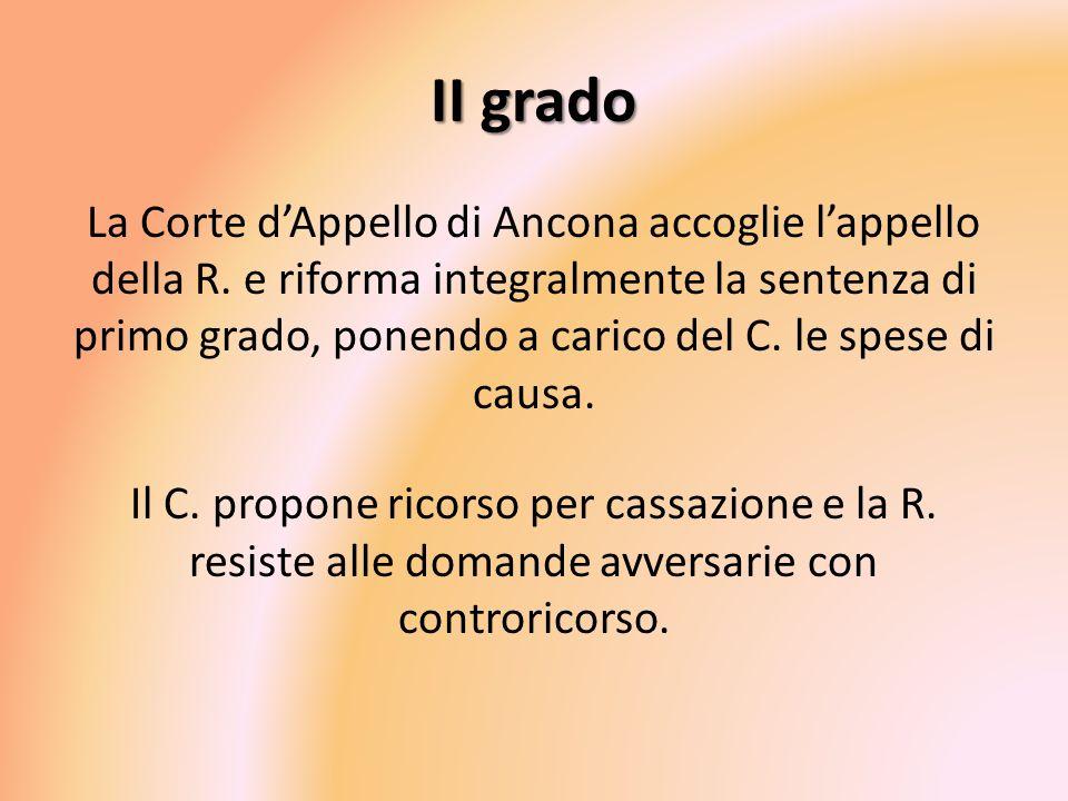 II grado La Corte dAppello di Ancona accoglie lappello della R. e riforma integralmente la sentenza di primo grado, ponendo a carico del C. le spese d
