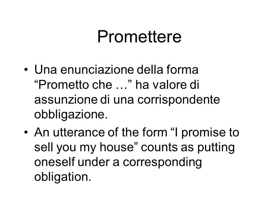 Promettere Una enunciazione della forma Prometto che … ha valore di assunzione di una corrispondente obbligazione.