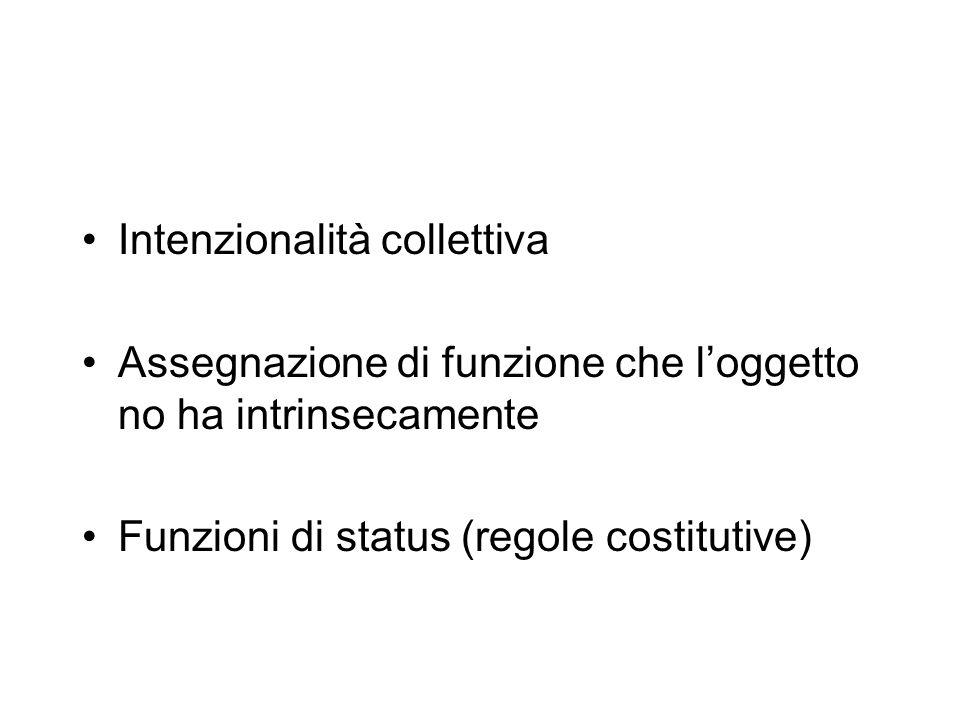 Intenzionalità collettiva Assegnazione di funzione che loggetto no ha intrinsecamente Funzioni di status (regole costitutive)