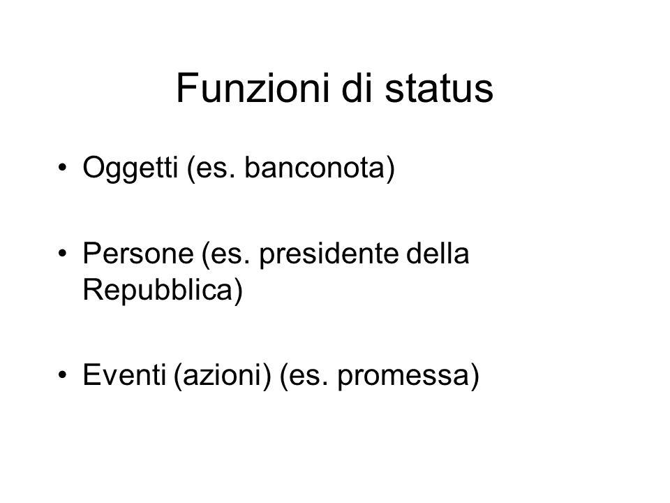 Funzioni di status Oggetti (es.banconota) Persone (es.