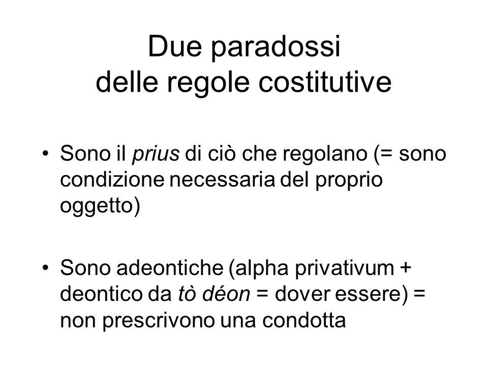 Due paradossi delle regole costitutive Sono il prius di ciò che regolano (= sono condizione necessaria del proprio oggetto) Sono adeontiche (alpha privativum + deontico da tò déon = dover essere) = non prescrivono una condotta