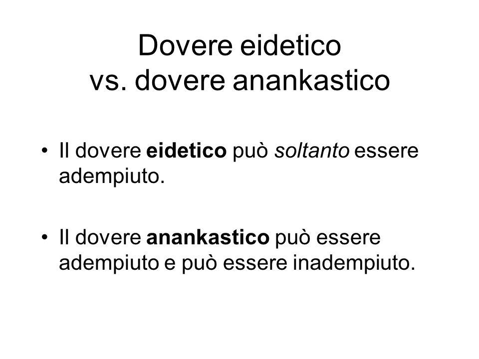 Dovere eidetico vs.dovere anankastico Il dovere eidetico può soltanto essere adempiuto.