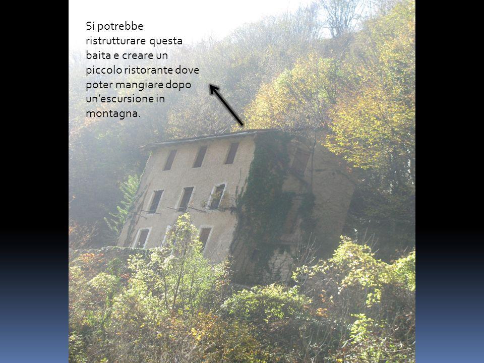 Si potrebbe ristrutturare questa baita e creare un piccolo ristorante dove poter mangiare dopo unescursione in montagna.