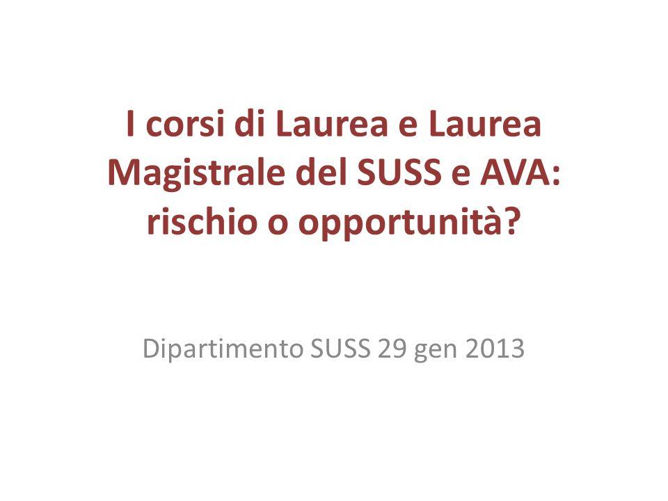 I corsi di Laurea e Laurea Magistrale del SUSS e AVA: rischio o opportunità.