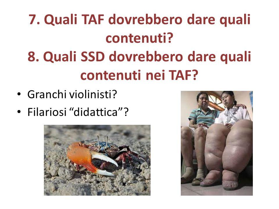 7. Quali TAF dovrebbero dare quali contenuti. 8.