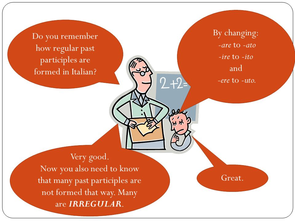 Do you remember how regular past participles are formed in Italian? By changing: -are to -ato -ire to -ito and -ere to -uto. Very good. Now you also n