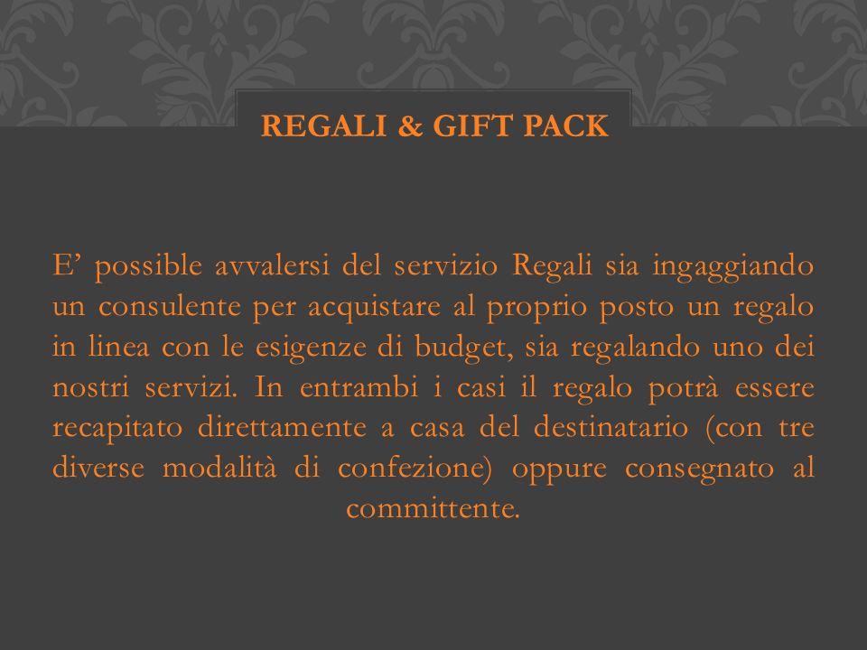 E possible avvalersi del servizio Regali sia ingaggiando un consulente per acquistare al proprio posto un regalo in linea con le esigenze di budget, sia regalando uno dei nostri servizi.