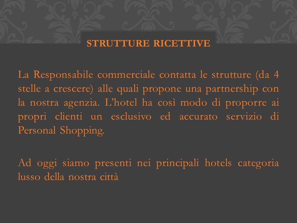 La Responsabile commerciale contatta le strutture (da 4 stelle a crescere) alle quali propone una partnership con la nostra agenzia.