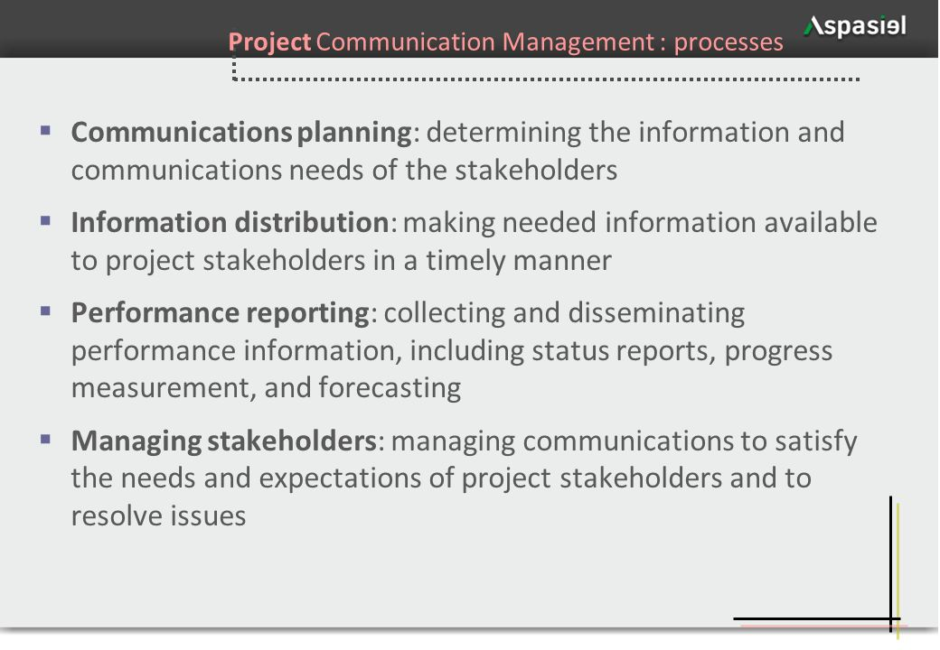 47 Project Communication Management : processes Communications planning: determining the information and communications needs of the stakeholders Info