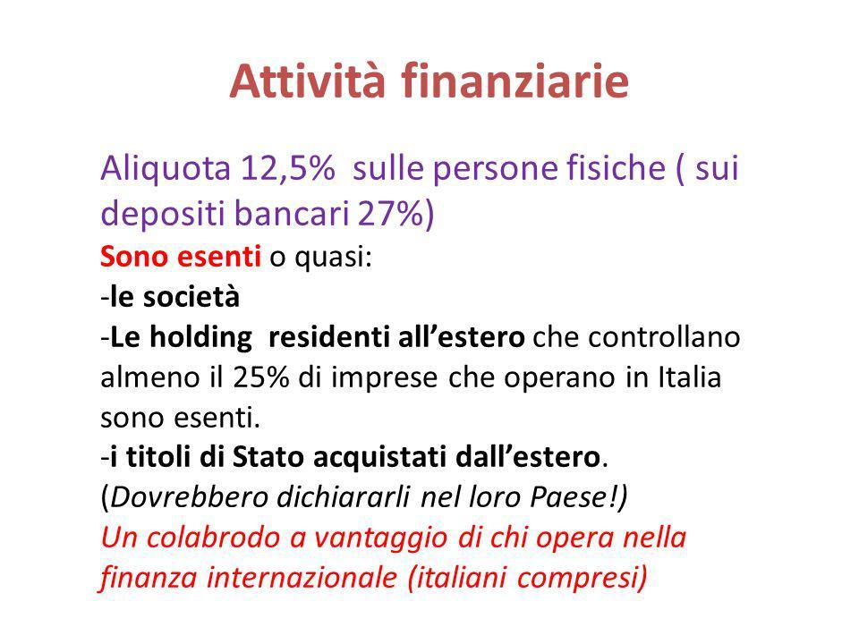 Attività finanziarie Aliquota 12,5% sulle persone fisiche ( sui depositi bancari 27%) Sono esenti o quasi: -le società -Le holding residenti allestero che controllano almeno il 25% di imprese che operano in Italia sono esenti.