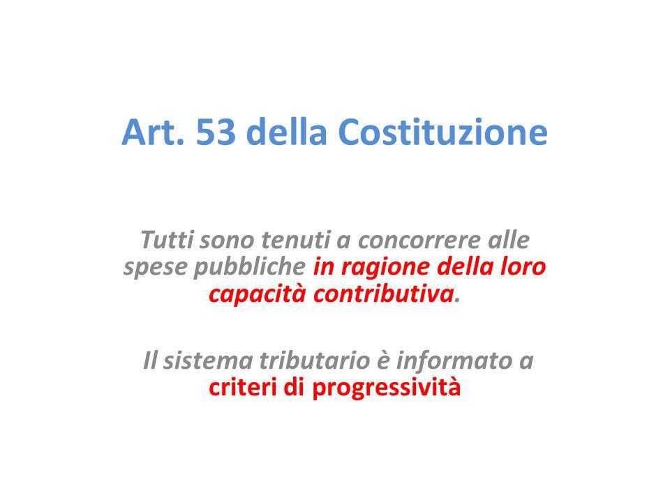 Art. 53 della Costituzione Tutti sono tenuti a concorrere alle spese pubbliche in ragione della loro capacità contributiva. Il sistema tributario è in