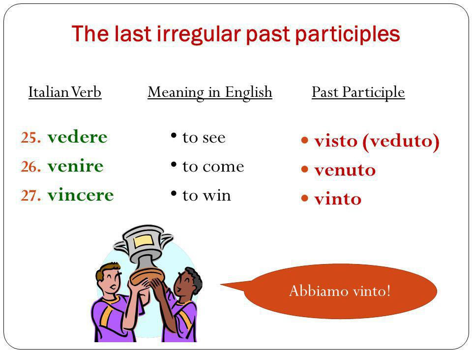 The last irregular past participles 25. vedere 26. venire 27. vincere visto (veduto) venuto vinto to see to come to win Italian Verb Meaning in Englis