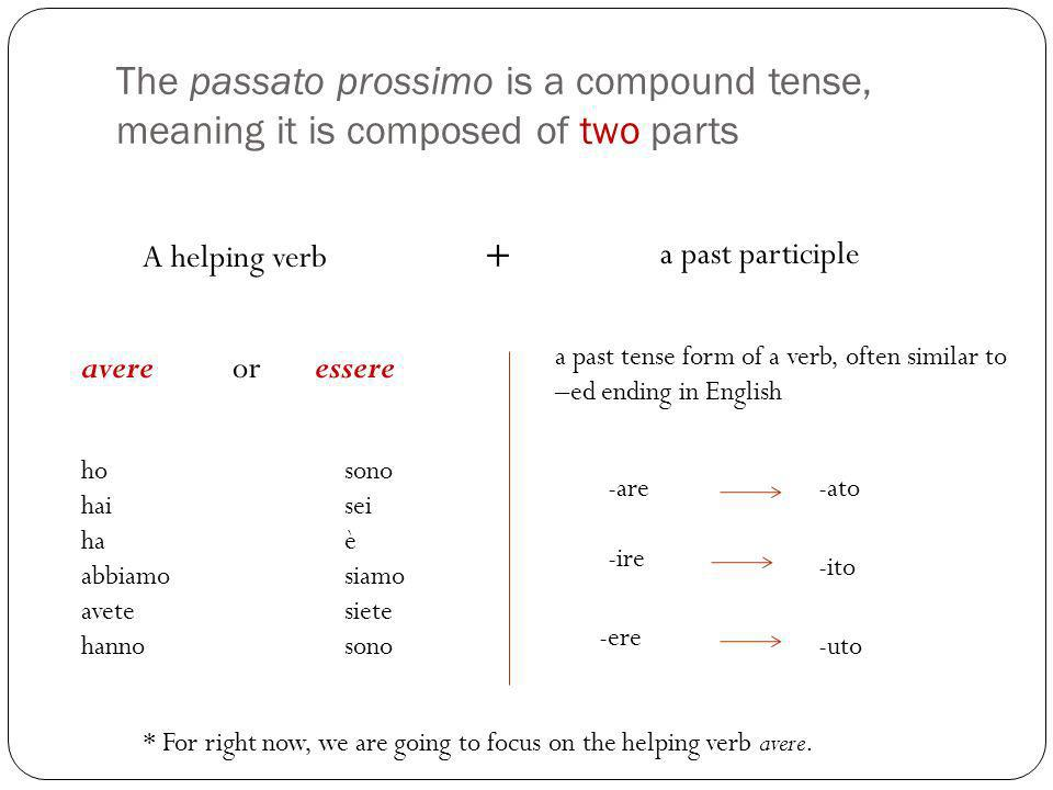 The passato prossimo is a compound tense, meaning it is composed of two parts A helping verb a past participle + avere or essere ho hai ha abbiamo ave