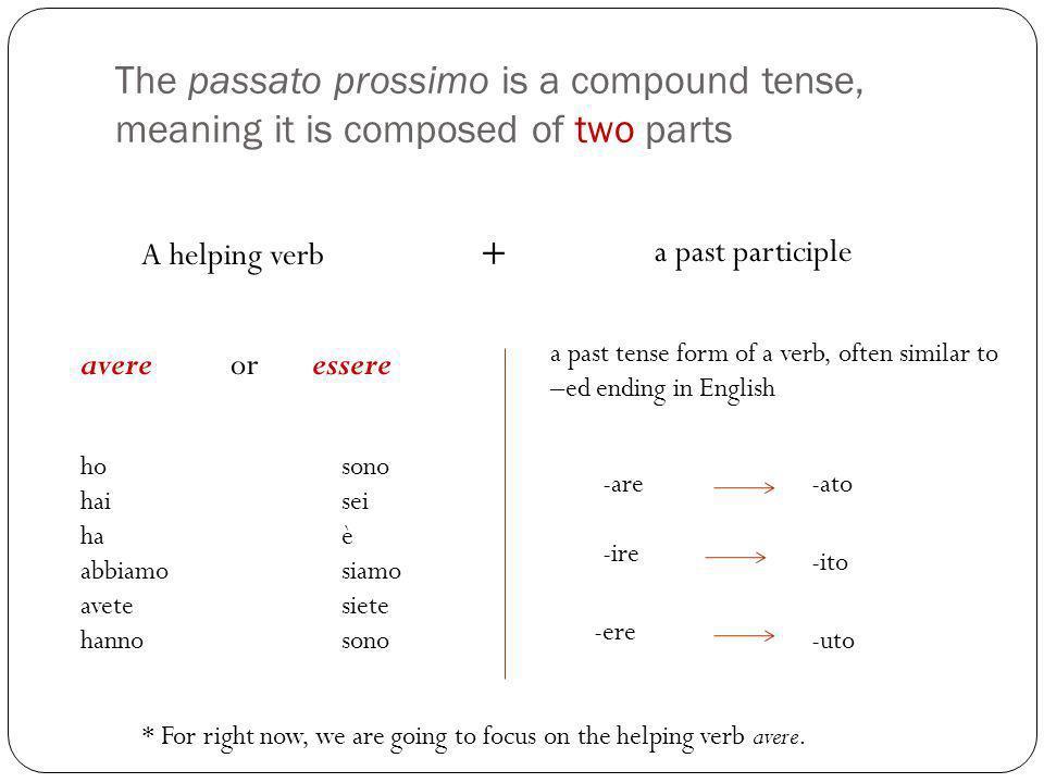 Example: An –are verb in the passato prossimo ( io) (tu) (lui) (lei) (noi) (voi) (loro) parlare – to speak ho parlato hai parlato ha parlato abbiamo parlato avete parlato hanno parlato