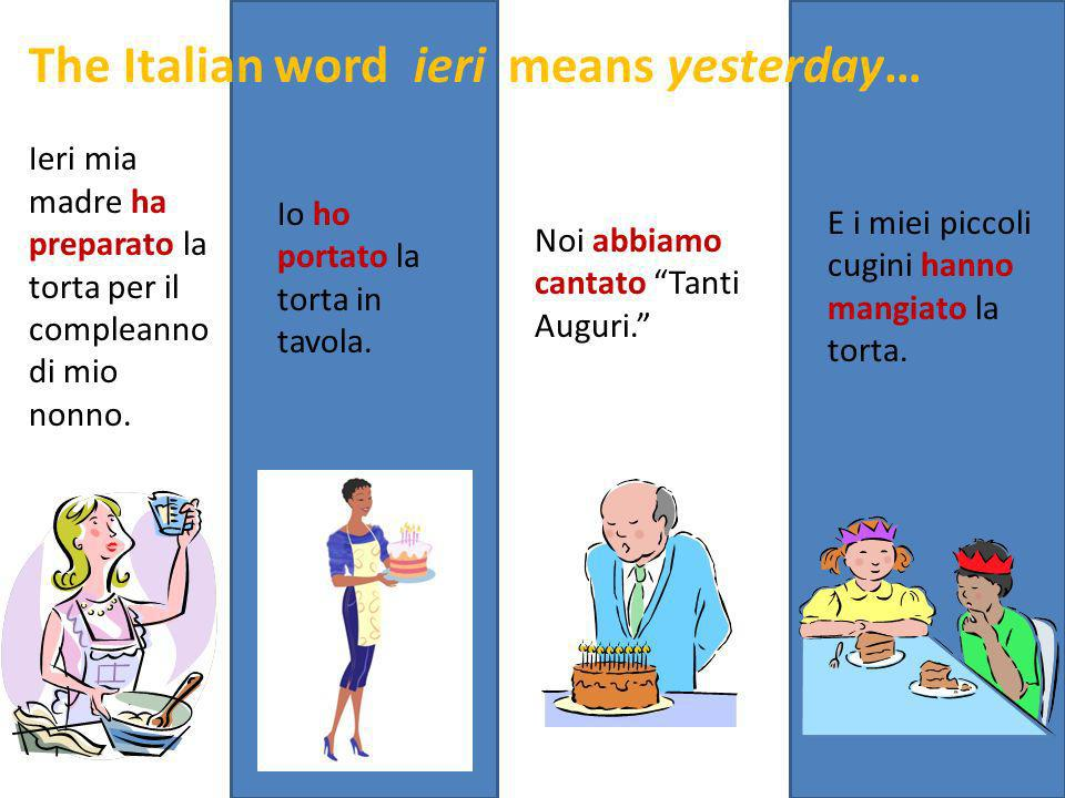 Ieri mia madre ha preparato la torta per il compleanno di mio nonno. Io ho portato la torta in tavola. The Italian word ieri means yesterday… E i miei