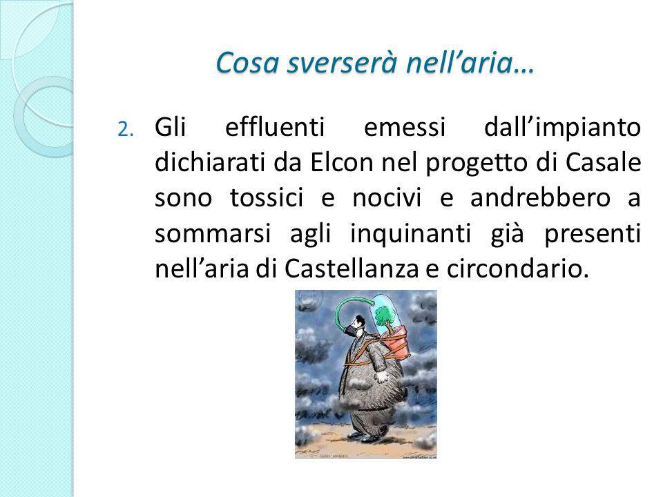 Cosa sverserà nellaria… 2. Gli effluenti emessi dallimpianto dichiarati da Elcon nel progetto di Casale sono tossici e nocivi e andrebbero a sommarsi