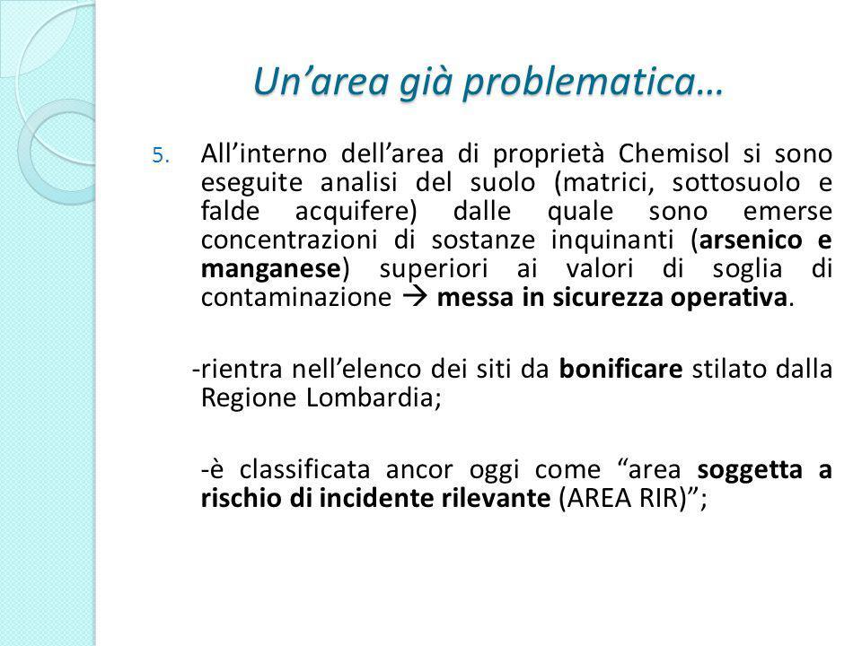 Unarea già problematica… 5. Allinterno dellarea di proprietà Chemisol si sono eseguite analisi del suolo (matrici, sottosuolo e falde acquifere) dalle