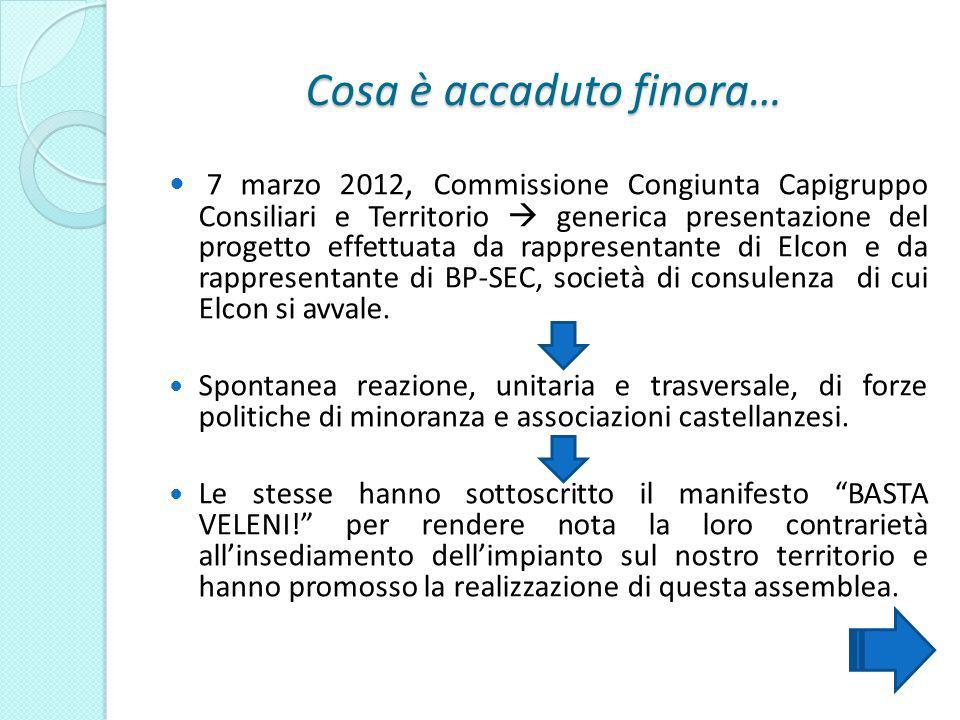 Cosa è accaduto finora… 7 marzo 2012, Commissione Congiunta Capigruppo Consiliari e Territorio generica presentazione del progetto effettuata da rappr