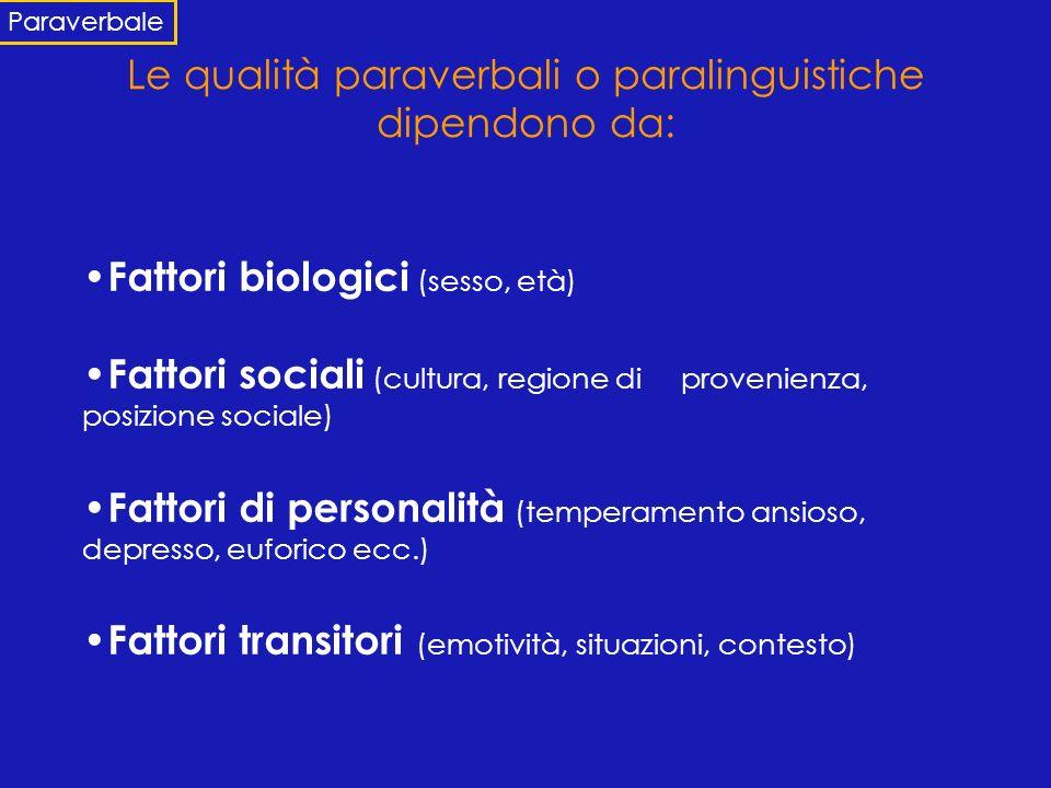 Le qualità paraverbali o paralinguistiche dipendono da: Fattori biologici (sesso, età) Fattori sociali (cultura, regione di provenienza, posizione soc