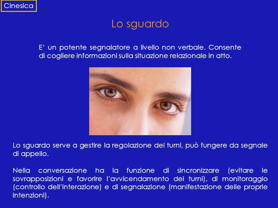 Lo sguardo E un potente segnalatore a livello non verbale. Consente di cogliere informazioni sulla situazione relazionale in atto. Lo sguardo serve a