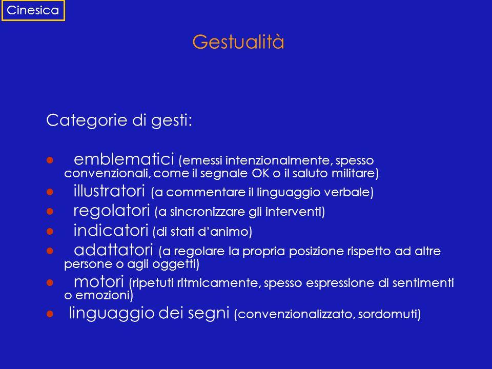 Gestualità Categorie di gesti: emblematici (emessi intenzionalmente, spesso convenzionali, come il segnale OK o il saluto militare) illustratori (a co