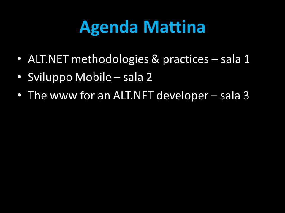 Agenda Mattina ALT.NET methodologies & practices – sala 1 Sviluppo Mobile – sala 2 The www for an ALT.NET developer – sala 3