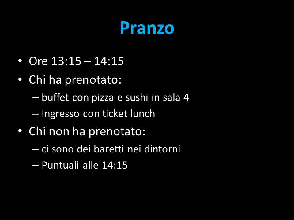 Pranzo Ore 13:15 – 14:15 Chi ha prenotato: – buffet con pizza e sushi in sala 4 – Ingresso con ticket lunch Chi non ha prenotato: – ci sono dei baretti nei dintorni – Puntuali alle 14:15