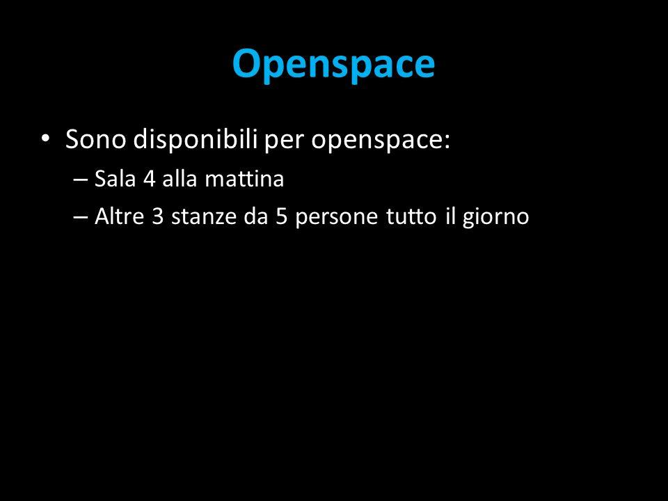 Openspace Sono disponibili per openspace: – Sala 4 alla mattina – Altre 3 stanze da 5 persone tutto il giorno