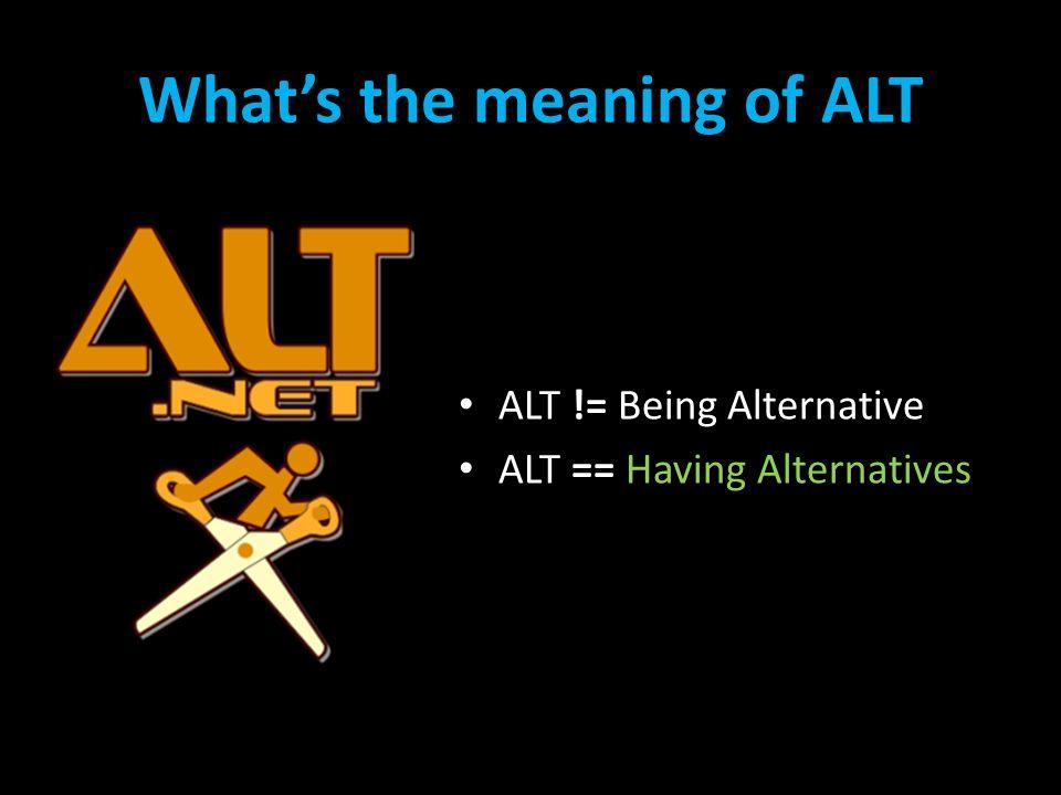 Agenda Pomeriggio ALT.NET methodologies & practices – sala 1 Beyond.NET – sala 2 The www for an ALT.NET developer – sala 3 Agile Application Lifecycle Management – sala 4