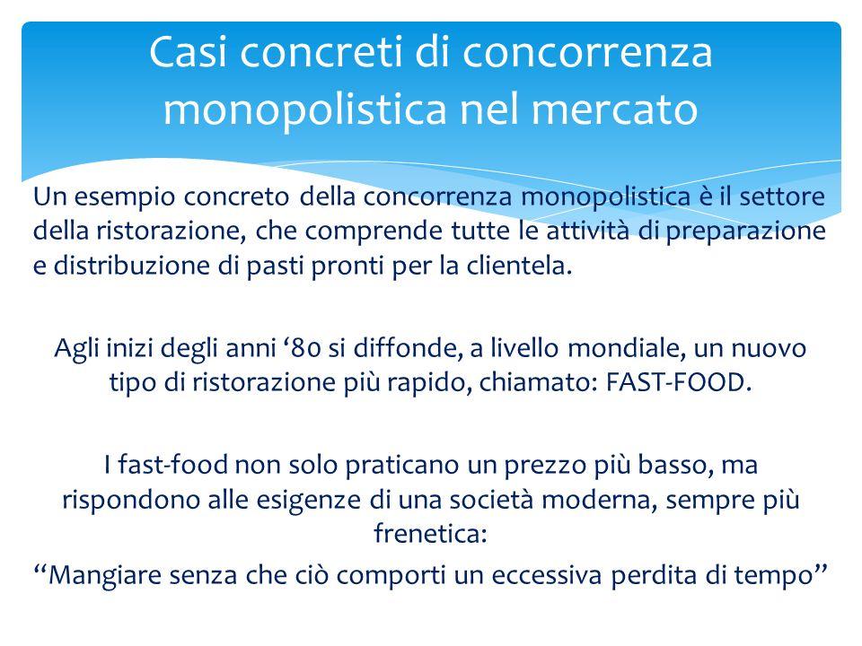 Un esempio concreto della concorrenza monopolistica è il settore della ristorazione, che comprende tutte le attività di preparazione e distribuzione d