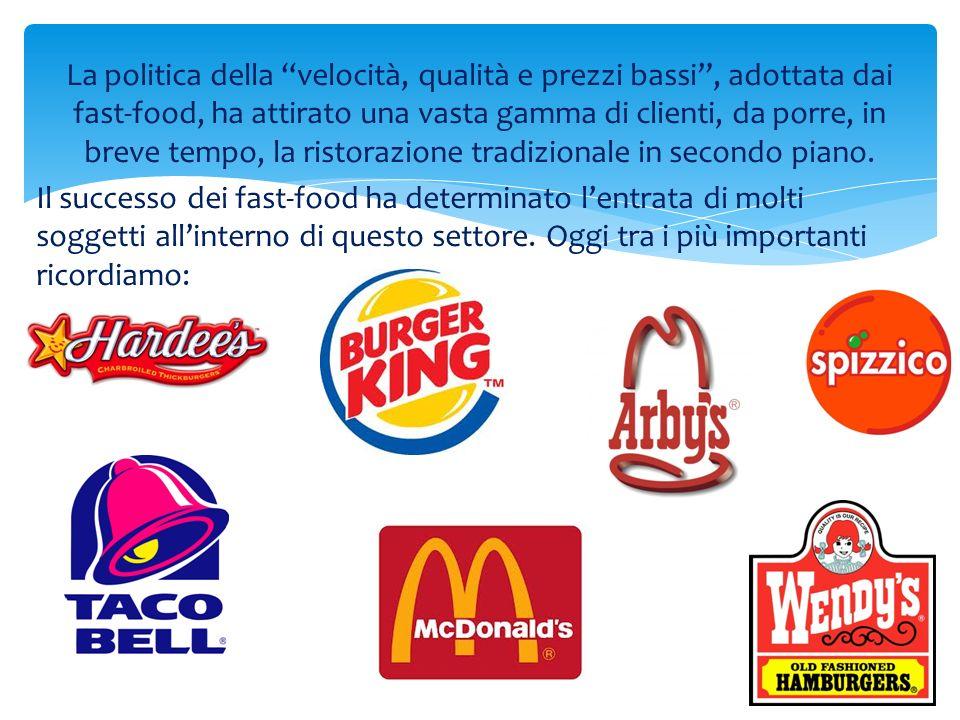 La politica della velocità, qualità e prezzi bassi, adottata dai fast-food, ha attirato una vasta gamma di clienti, da porre, in breve tempo, la risto