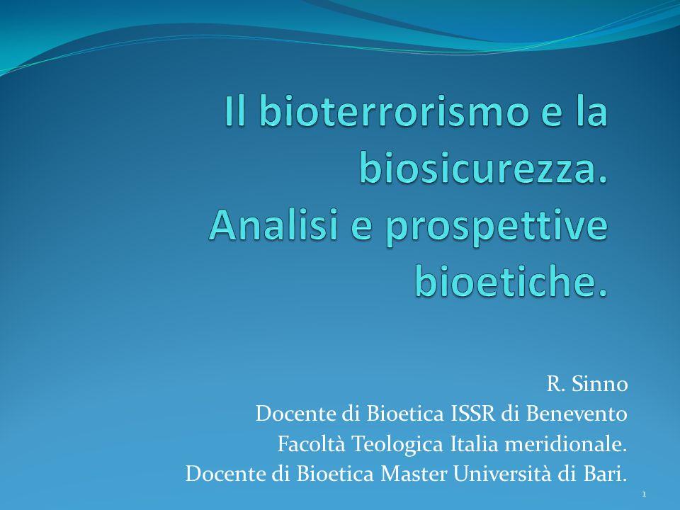 R. Sinno Docente di Bioetica ISSR di Benevento Facoltà Teologica Italia meridionale. Docente di Bioetica Master Università di Bari. 1