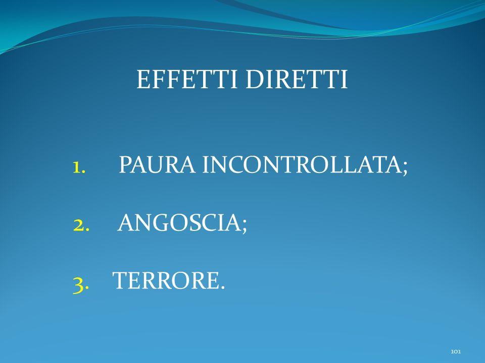 101 EFFETTI DIRETTI 1. PAURA INCONTROLLATA; 2. ANGOSCIA; 3.TERRORE.