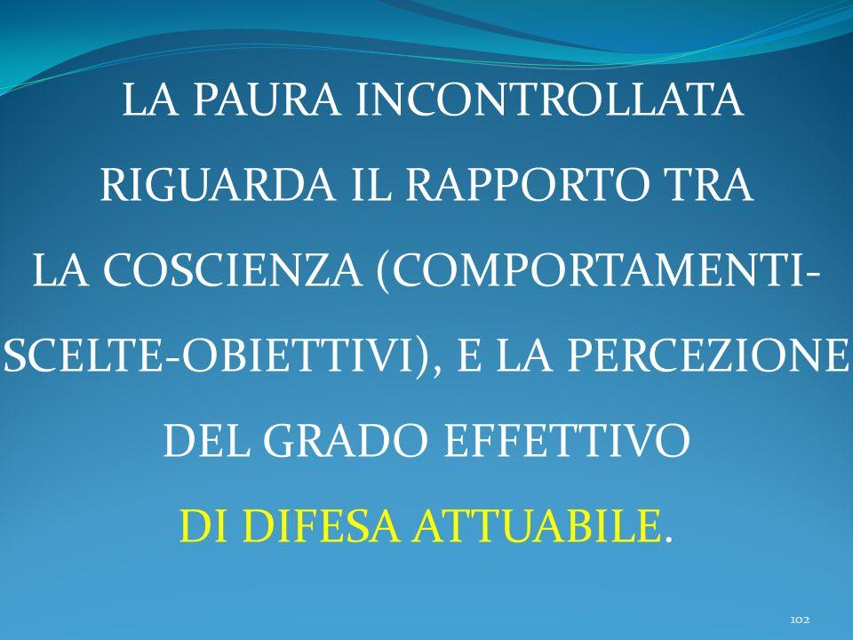 102 LA PAURA INCONTROLLATA RIGUARDA IL RAPPORTO TRA LA COSCIENZA (COMPORTAMENTI- SCELTE-OBIETTIVI), E LA PERCEZIONE DEL GRADO EFFETTIVO DI DIFESA ATTUABILE.