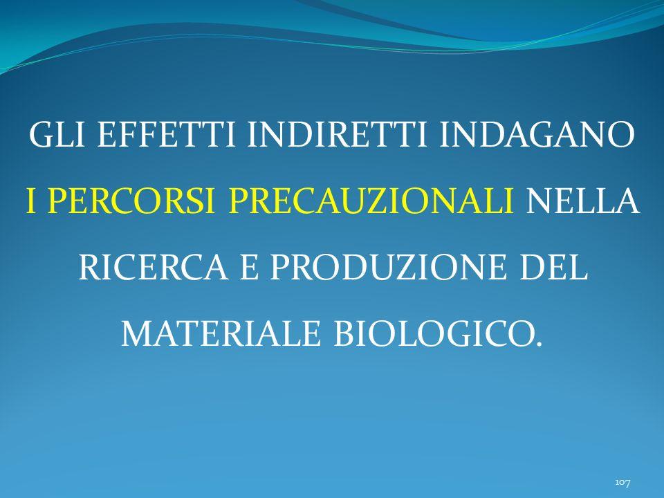 107 GLI EFFETTI INDIRETTI INDAGANO I PERCORSI PRECAUZIONALI NELLA RICERCA E PRODUZIONE DEL MATERIALE BIOLOGICO.