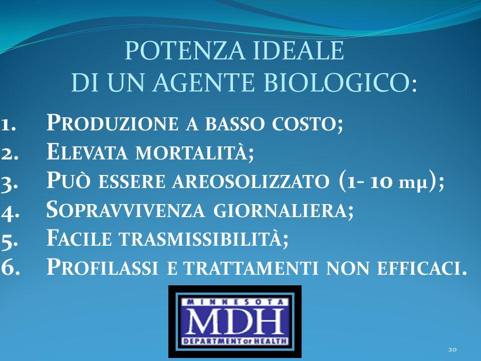 20 POTENZA IDEALE DI UN AGENTE BIOLOGICO: 1.P RODUZIONE A BASSO COSTO ; 2.