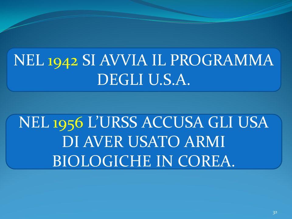 32 NEL 1942 SI AVVIA IL PROGRAMMA DEGLI U.S.A. NEL 1956 LURSS ACCUSA GLI USA DI AVER USATO ARMI BIOLOGICHE IN COREA.