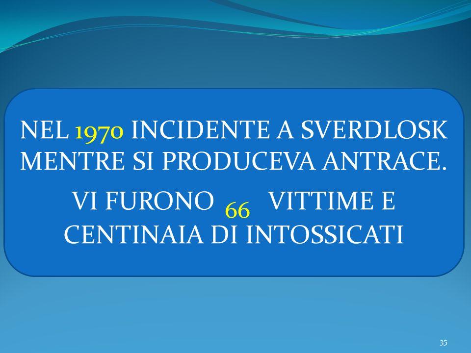 35 NEL 1970 INCIDENTE A SVERDLOSK MENTRE SI PRODUCEVA ANTRACE. VI FURONO 66 VITTIME E CENTINAIA DI INTOSSICATI
