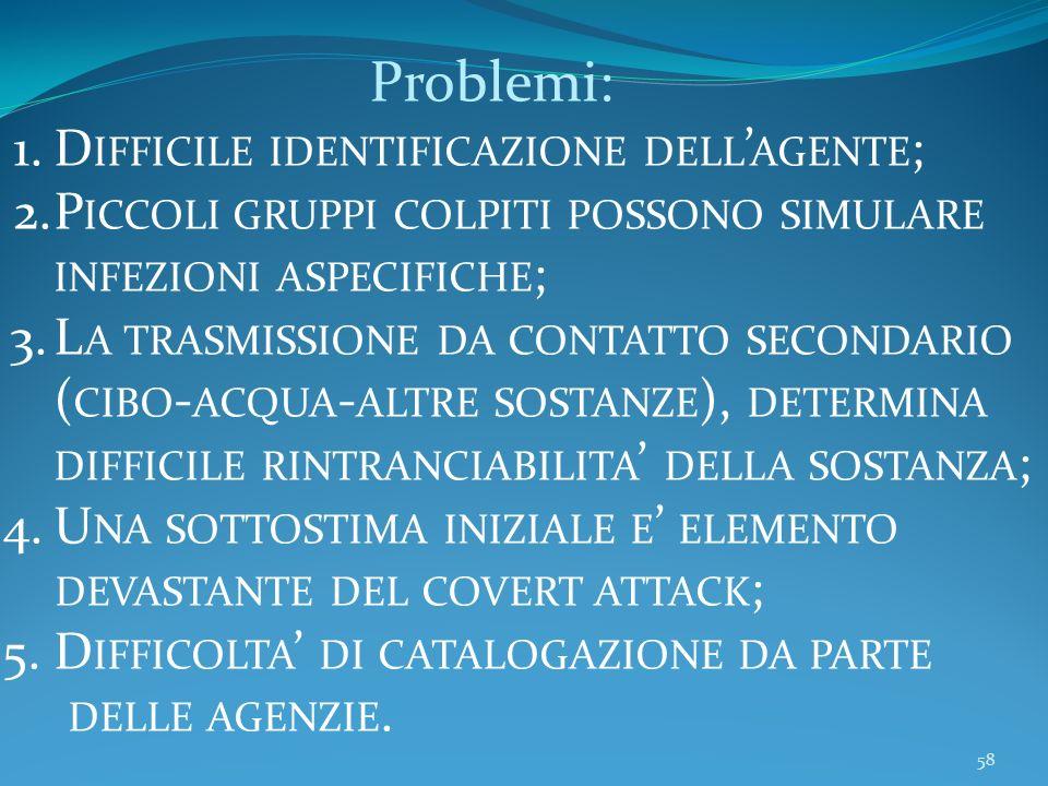 58 Problemi: 1.D IFFICILE IDENTIFICAZIONE DELL AGENTE ; 2.P ICCOLI GRUPPI COLPITI POSSONO SIMULARE INFEZIONI ASPECIFICHE ; 3.L A TRASMISSIONE DA CONTATTO SECONDARIO ( CIBO - ACQUA - ALTRE SOSTANZE ), DETERMINA DIFFICILE RINTRANCIABILITA DELLA SOSTANZA ; 4.U NA SOTTOSTIMA INIZIALE E ELEMENTO DEVASTANTE DEL COVERT ATTACK ; 5.D IFFICOLTA DI CATALOGAZIONE DA PARTE DELLE AGENZIE.