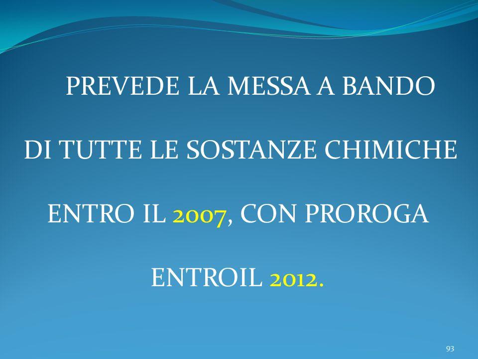 93 PREVEDE LA MESSA A BANDO DI TUTTE LE SOSTANZE CHIMICHE ENTRO IL 2007, CON PROROGA ENTROIL 2012.