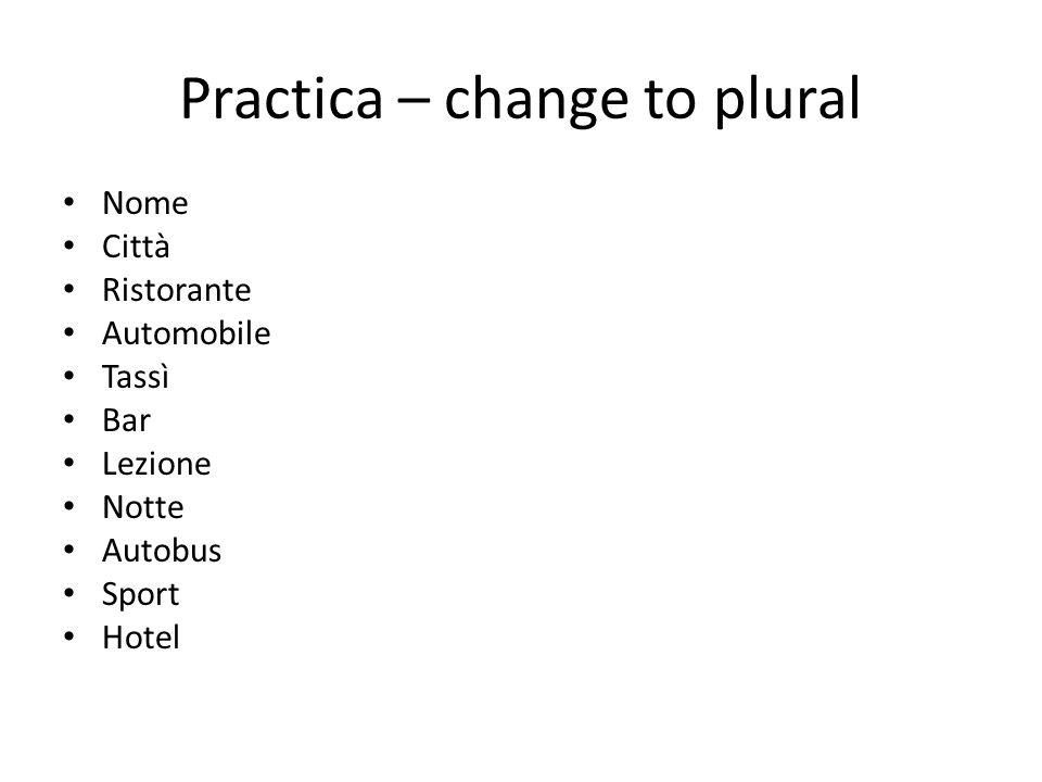 Practica – change to plural Nome Città Ristorante Automobile Tassì Bar Lezione Notte Autobus Sport Hotel