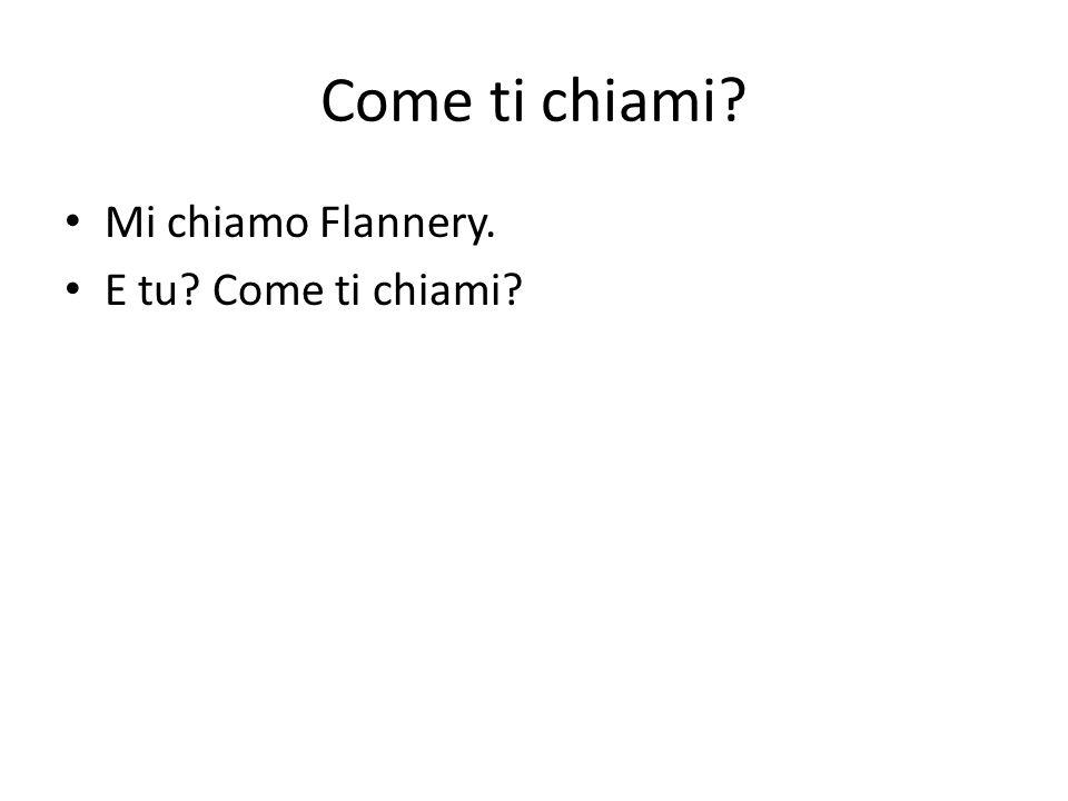 Come ti chiami Mi chiamo Flannery. E tu Come ti chiami