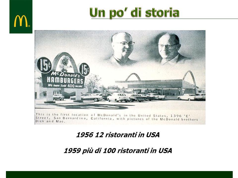 1956 12 ristoranti in USA 1959 più di 100 ristoranti in USA