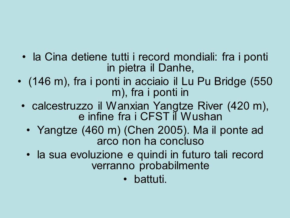 la Cina detiene tutti i record mondiali: fra i ponti in pietra il Danhe, (146 m), fra i ponti in acciaio il Lu Pu Bridge (550 m), fra i ponti in calcestruzzo il Wanxian Yangtze River (420 m), e infine fra i CFST il Wushan Yangtze (460 m) (Chen 2005).