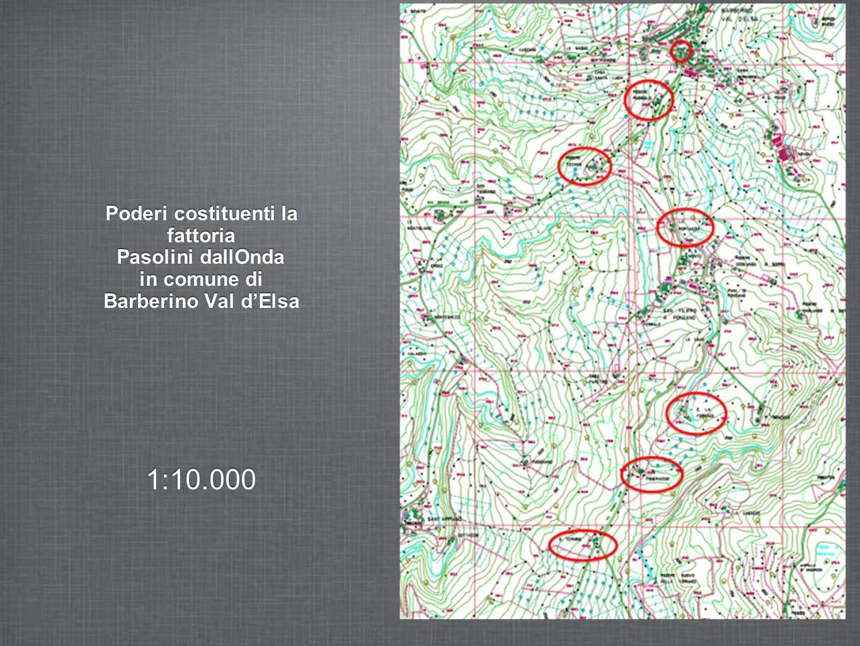 Poderi costituenti la fattoria Pasolini dallOnda in comune di Barberino Val dElsa 1:10.000