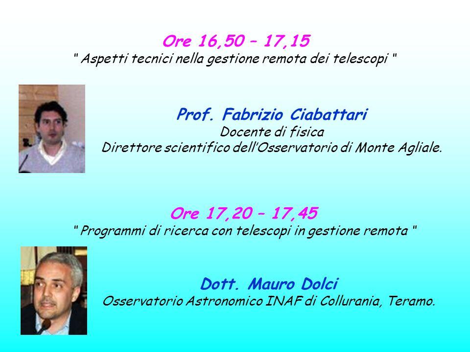 Ore 16,50 – 17,15 Aspetti tecnici nella gestione remota dei telescopi Prof. Fabrizio Ciabattari Docente di fisica Direttore scientifico dellOsservator