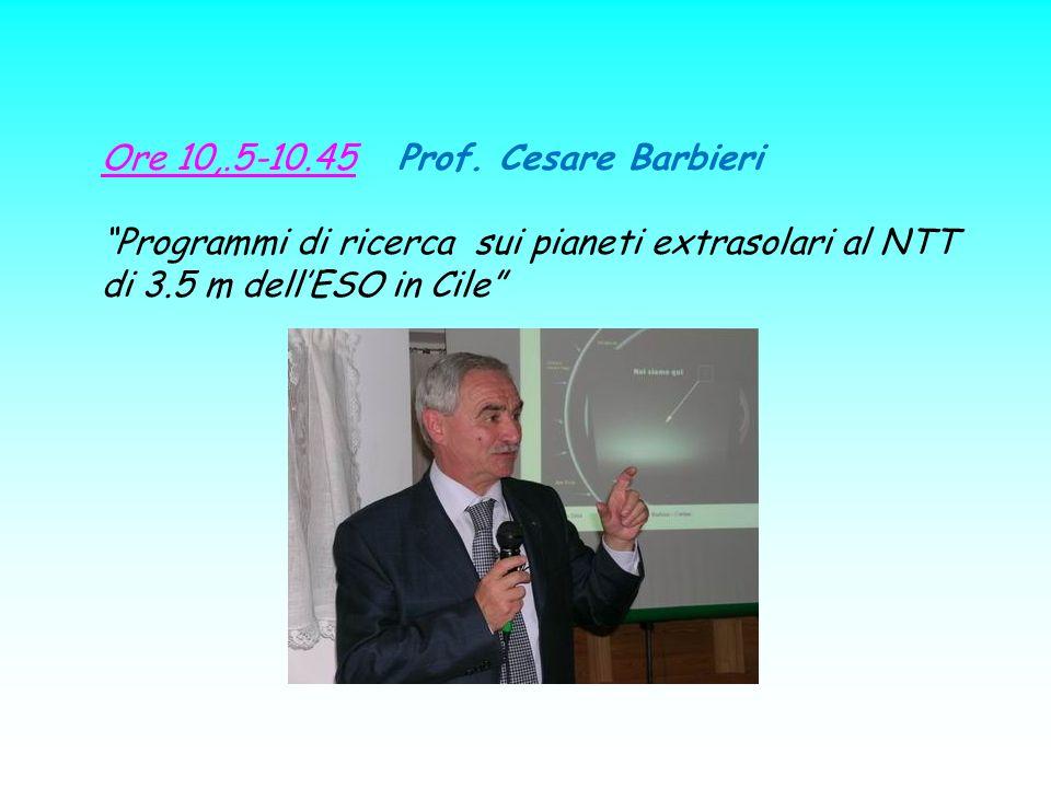 Ore 10,.5-10.45 Prof. Cesare Barbieri Programmi di ricerca sui pianeti extrasolari al NTT di 3.5 m dellESO in Cile