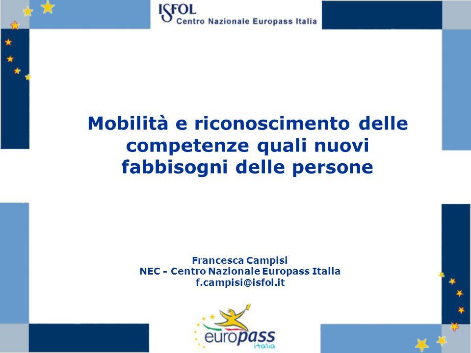Mobilità e riconoscimento delle competenze quali nuovi fabbisogni delle persone Francesca Campisi NEC - Centro Nazionale Europass Italia f.campisi@isf