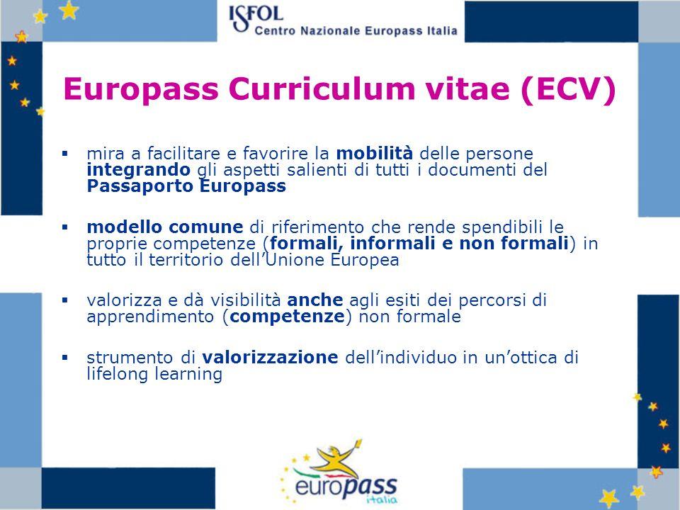 Europass Curriculum vitae (ECV) mira a facilitare e favorire la mobilità delle persone integrando gli aspetti salienti di tutti i documenti del Passap